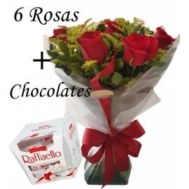 RAMALHETE COM 6 ROSAS + RAFAELLO 150 G