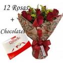 RAMALHETE COM 12 ROSAS + RAFAELLO